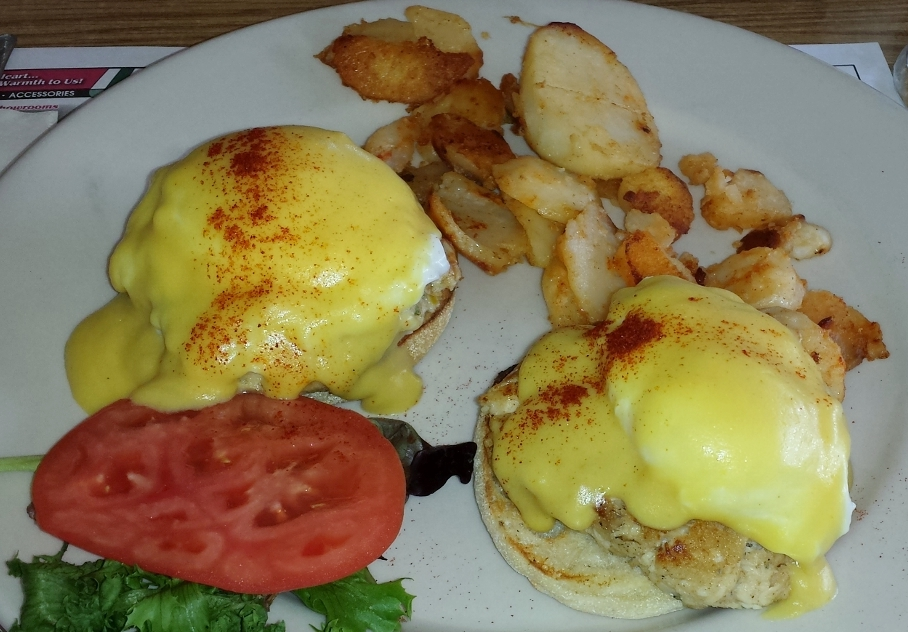 A morning special, Jersey Shore Benedict: striper (!) cakes on a bagel, with real hollandaise and a sprinkle of Old Bay. Spectacular!