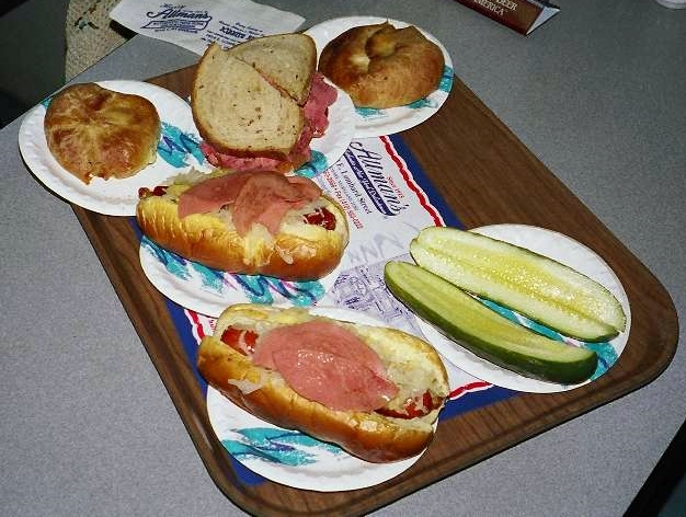 Yes, that's sizzled bologna (!) garnishing those excellent kosher dogs.