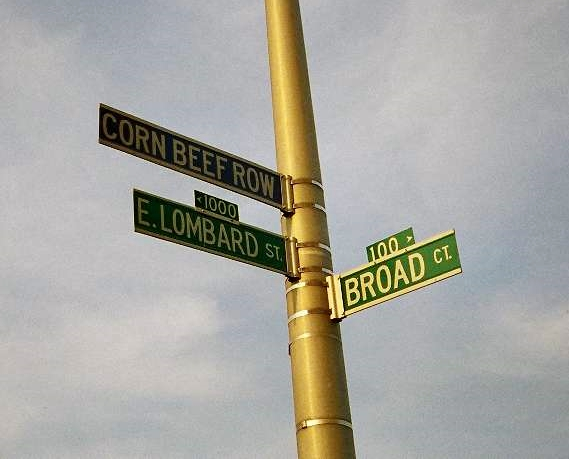Baltimore has designated this area Corned (or as this sign misstates it) Corn Beef Row.