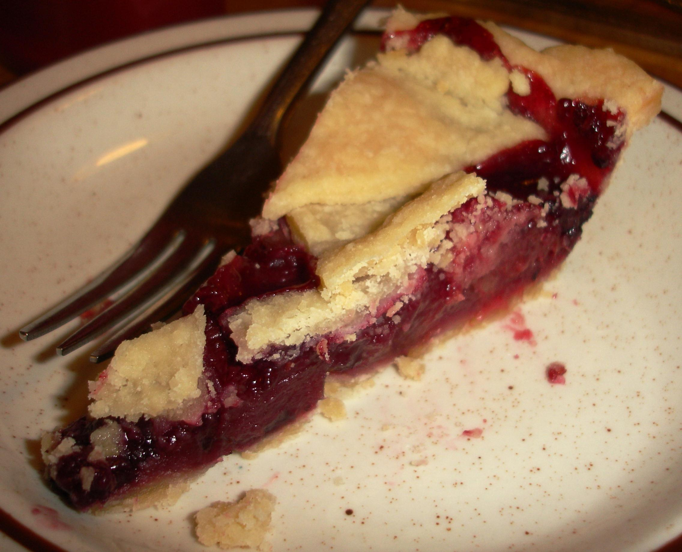 Pie servings here are not enormous, but this is half a wedge of three-berry pie, which was split for us in the kitchen.