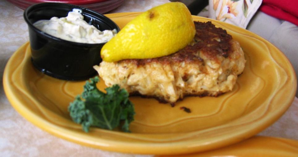 The crab cakes come in two sizes. This is the large (7 oz) one.