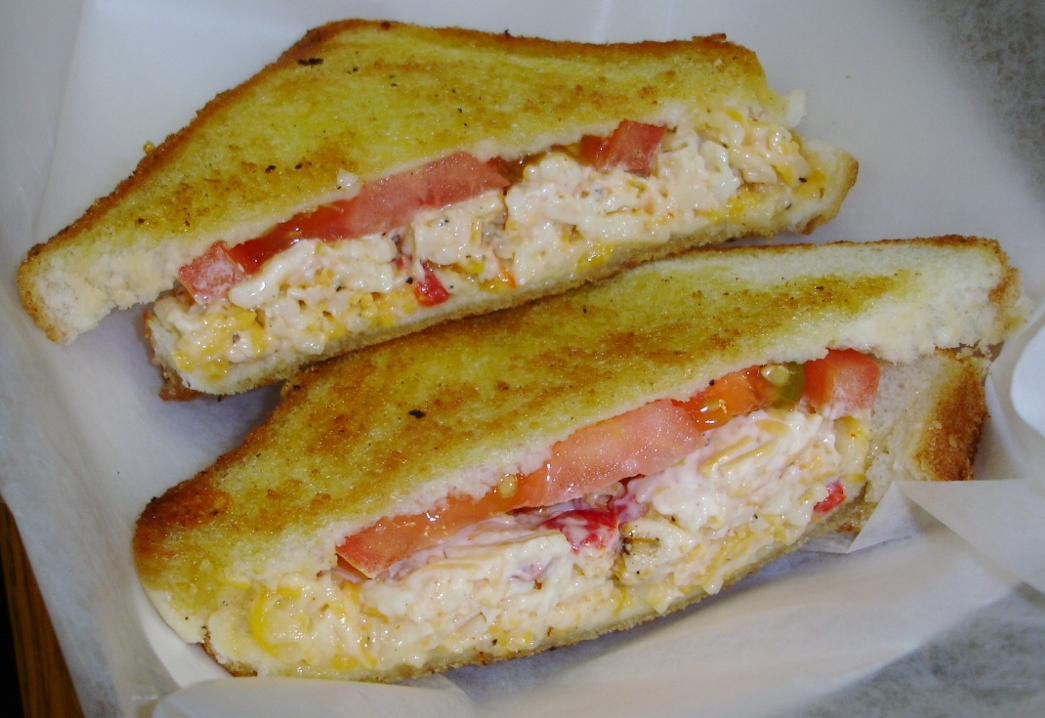 Grilled pimento cheese and tomato sandwich