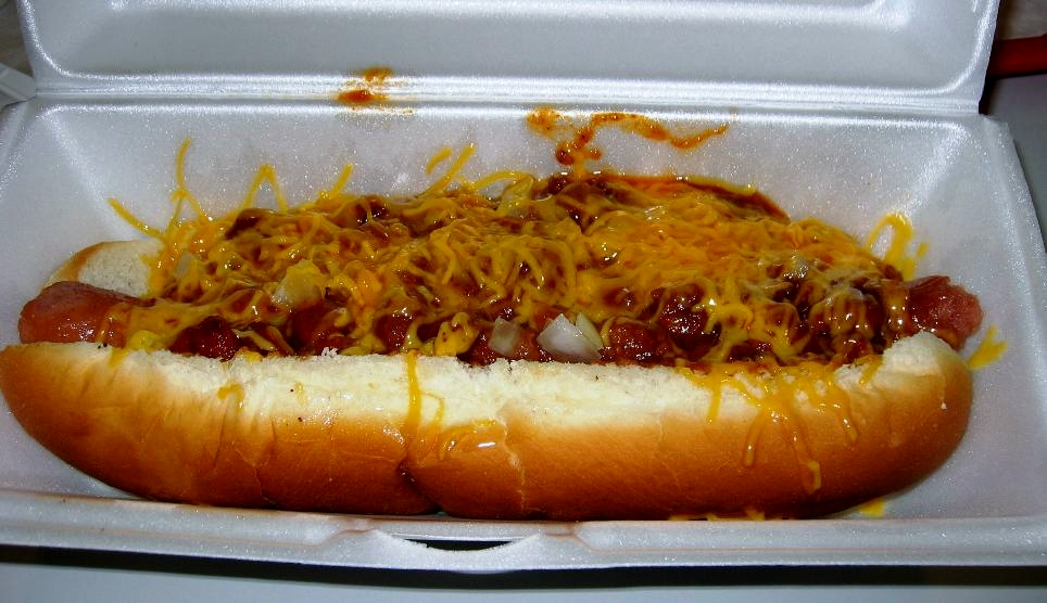 We enjoyed this chili cheese dog, but we don't recommend eating chili dogs and frenchees at the same meal.