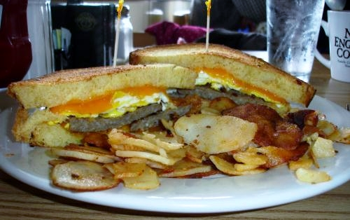 A sausage, egg, and cheese breakfast sandwich
