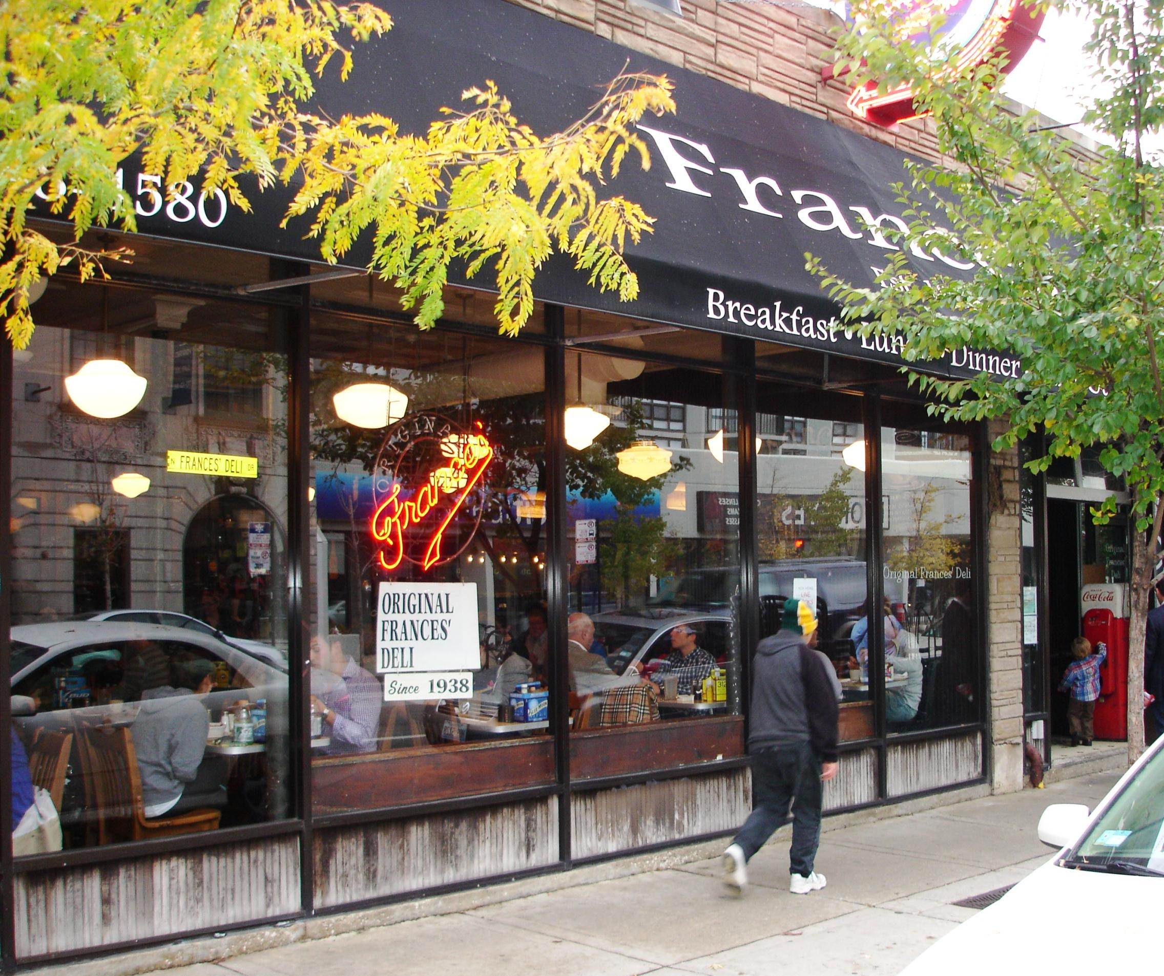 Frances Deli is an ideal casual spot for breakfast or lunch in Lincoln Park. Dinner is served only on weekends.