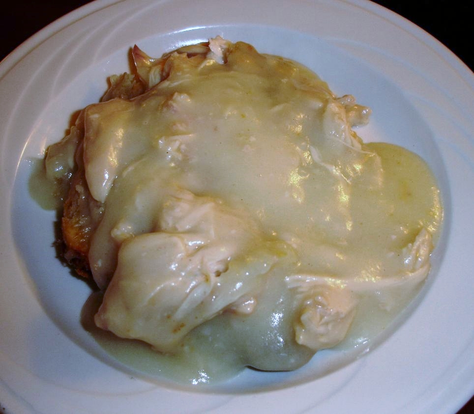 The chicken pie without vegetables holds chicken and gravy. Nothing else. With a top crust. All homemade, and it tastes it.