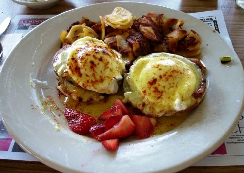 Jersey Benedict, where, yes, pork roll subs for the ham or Canadian bacon