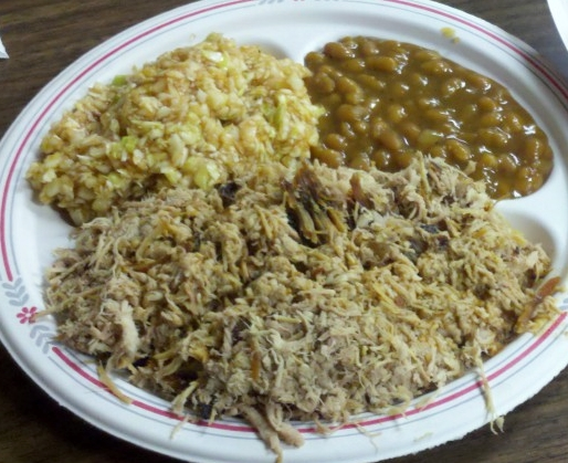 Lexington, NC is known for chopped barbecued pork shoulder with vinegar sauce.
