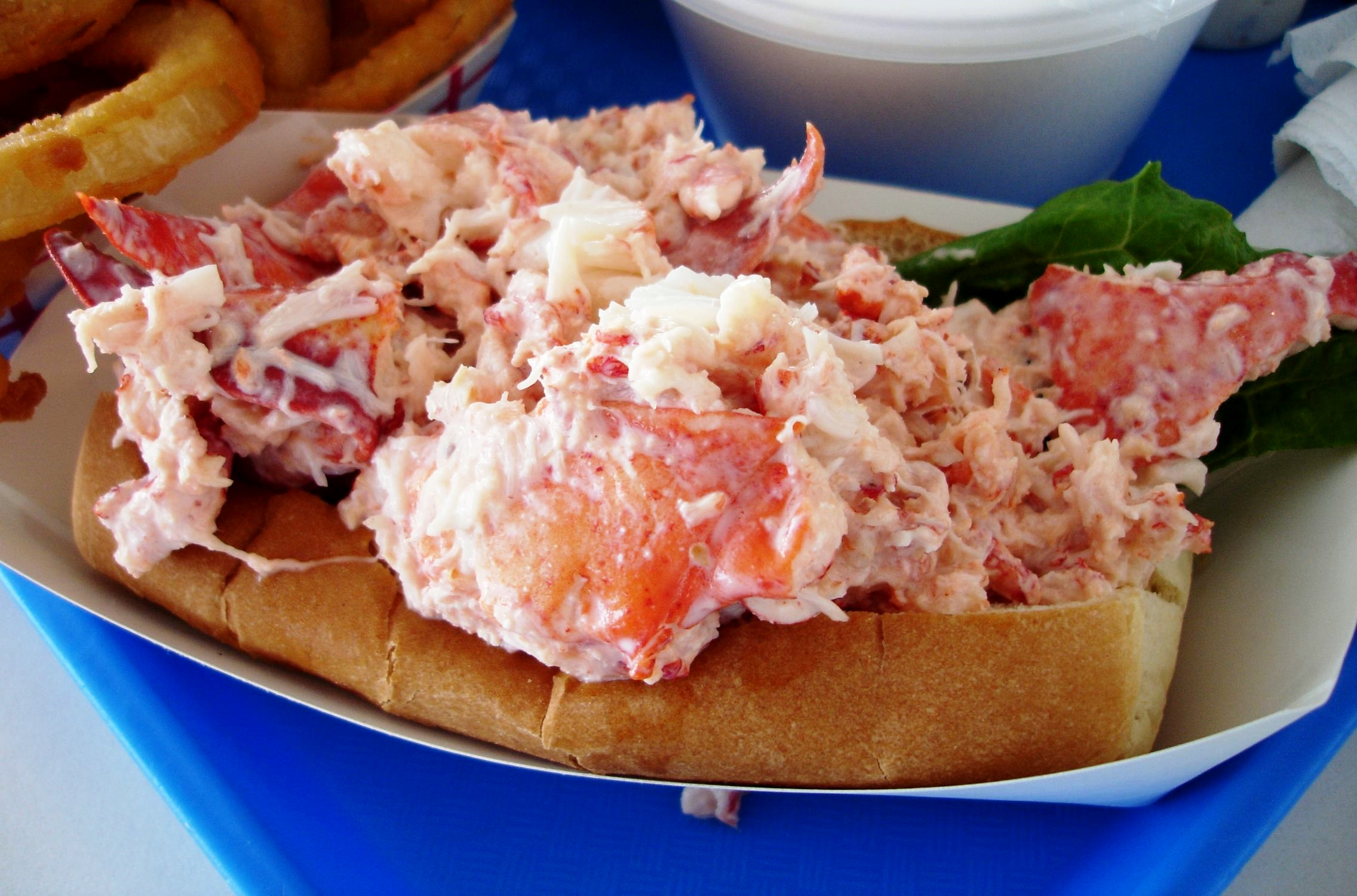 Markey's lobster roll is filled with large chunks of claw meat and a judicious amount of mayo.