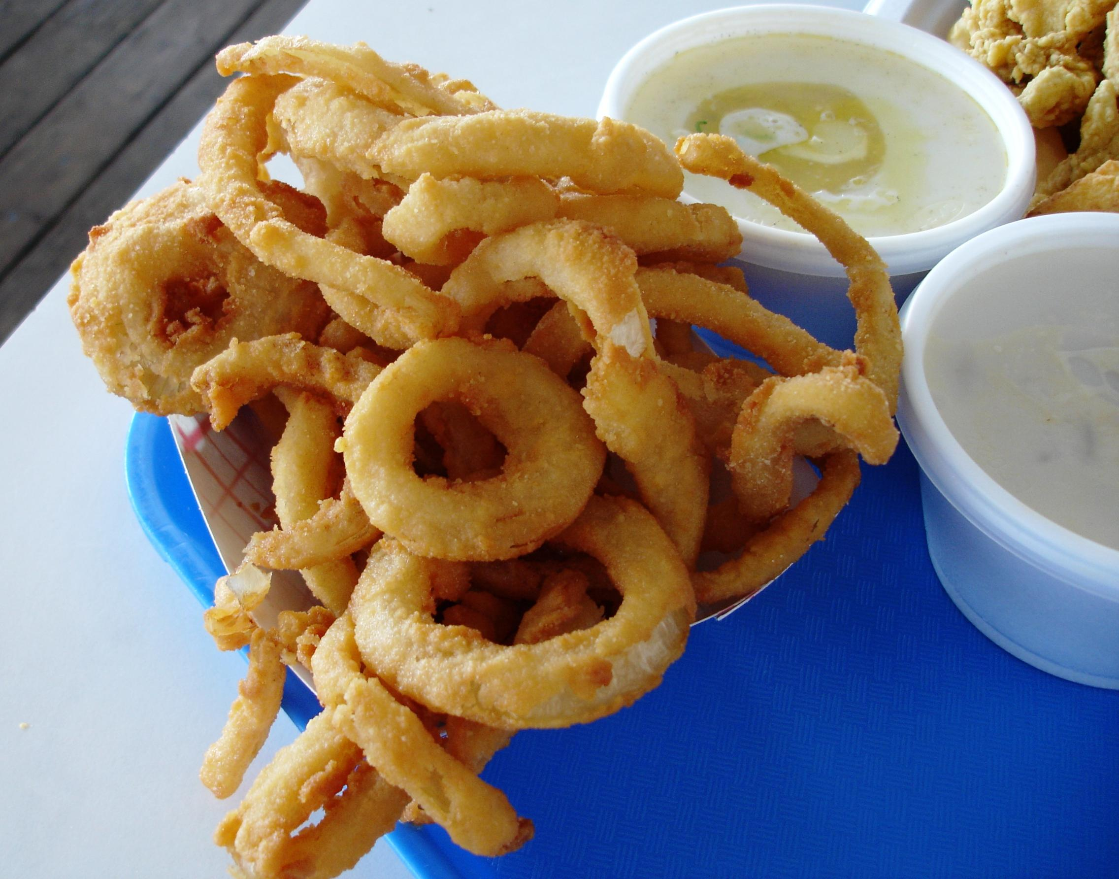 Onion rings are made on-site (onion middles are also available).