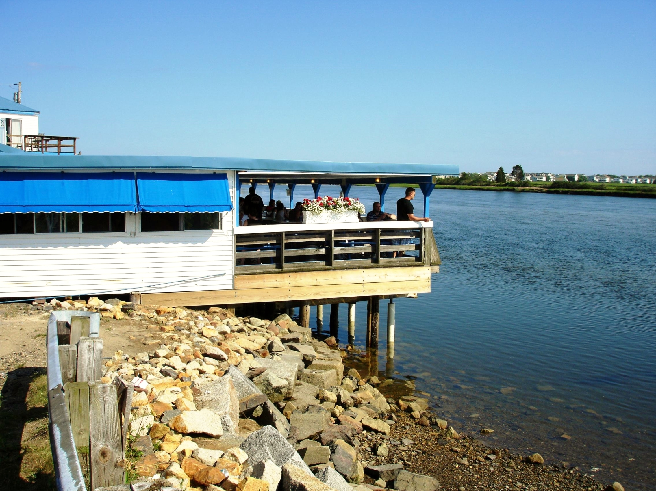 Markey's Lobster Pool is right on New Hampshire's border with Massachusetts, about a half-mile from the Atlantic Ocean.