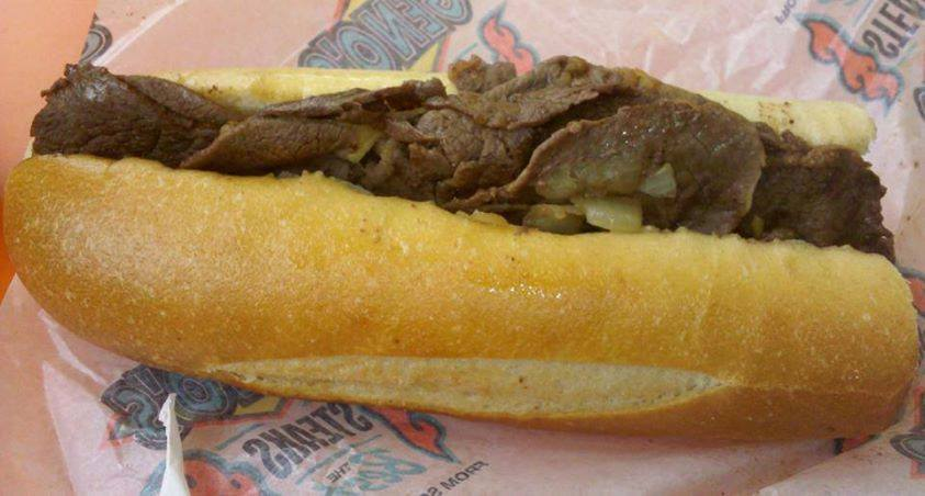 A steak sandwich from Geno's Steaks in Philadelphia, PA