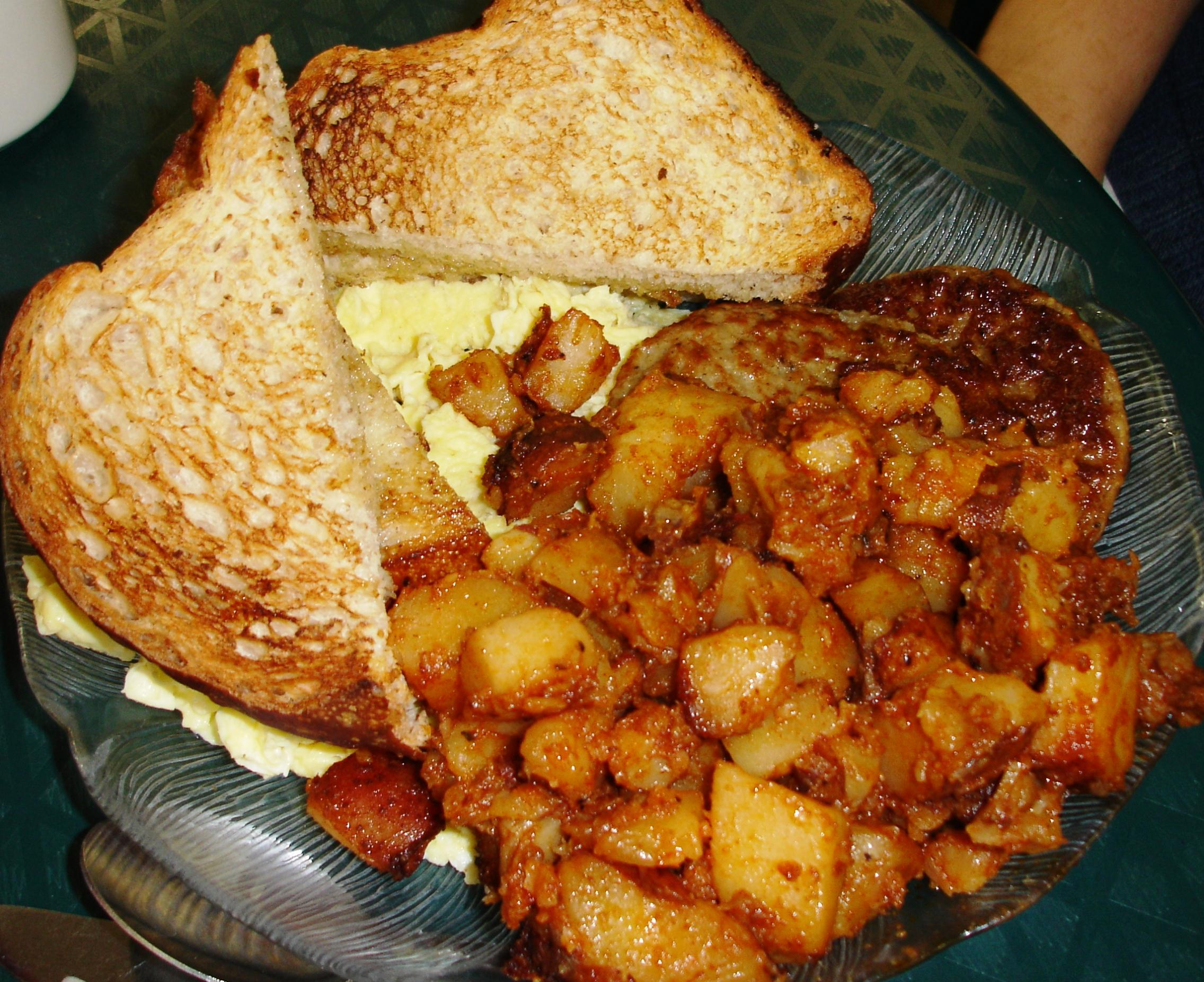 Bread for the light-textured toast is baked here. Home fries, soft and well-seasoned, are comforting.
