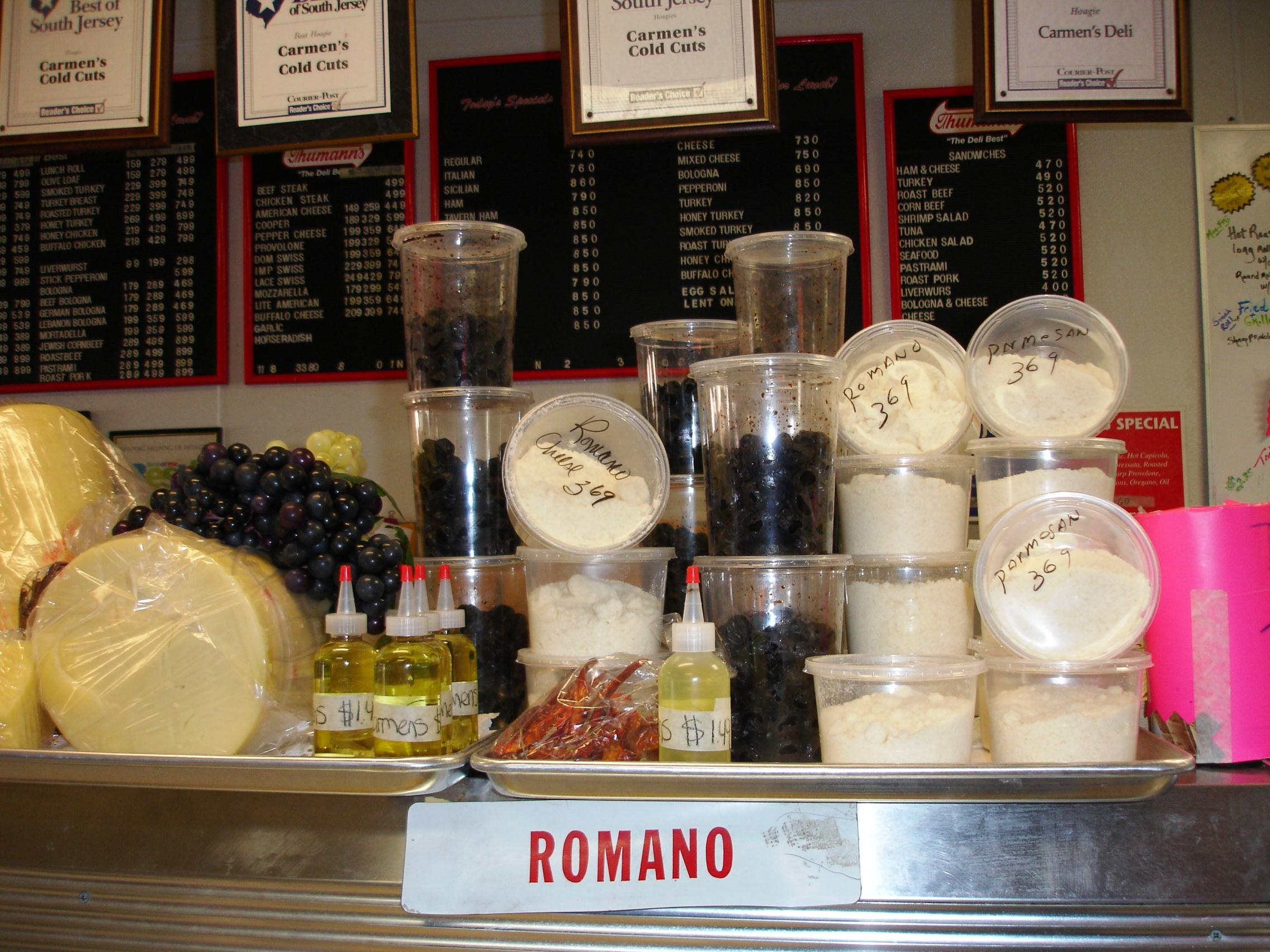 Carmen's offers cheeses, olives, and hoagie oils to go.