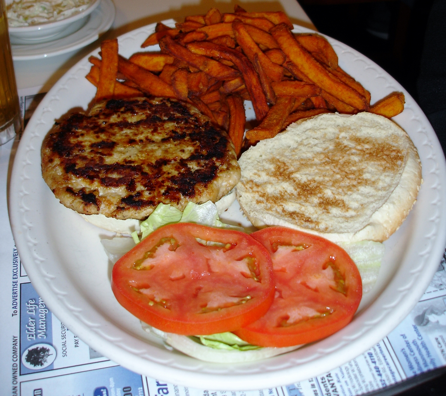 A turkey burger with the dollar surcharge sweet potato fries was fine, the sort of thing you can depend on in a diner.