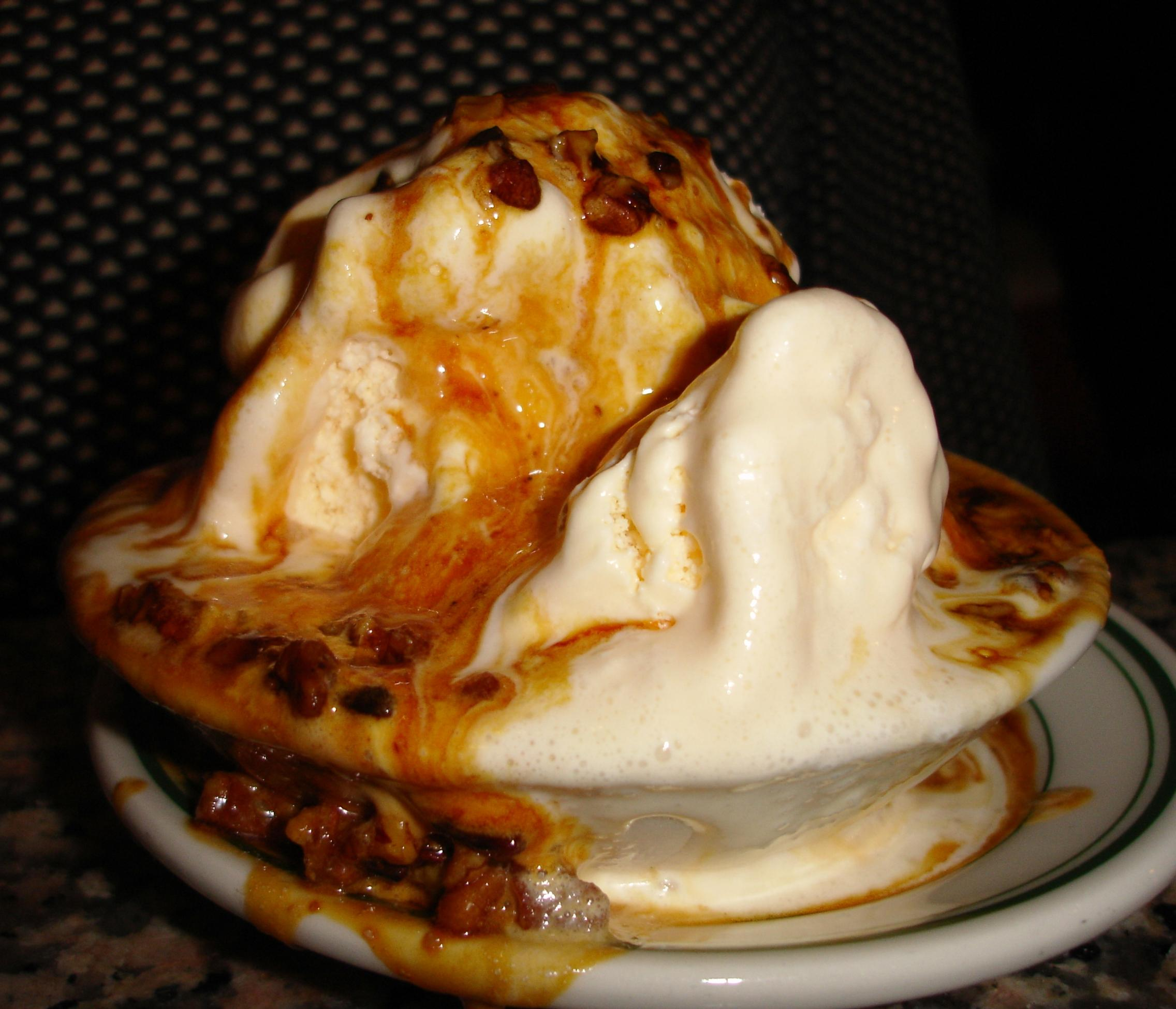 Get the praline sundae for the bittersweet pecan sauce.