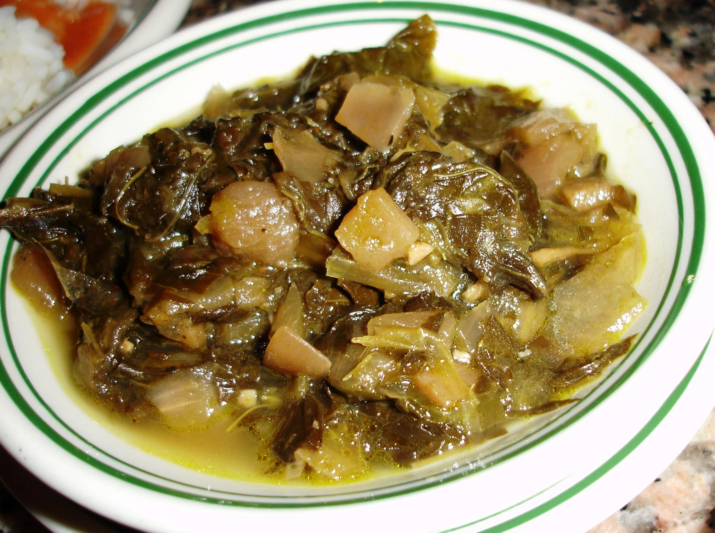 Turnip greens would help round out a meal where gumbo is the main event.