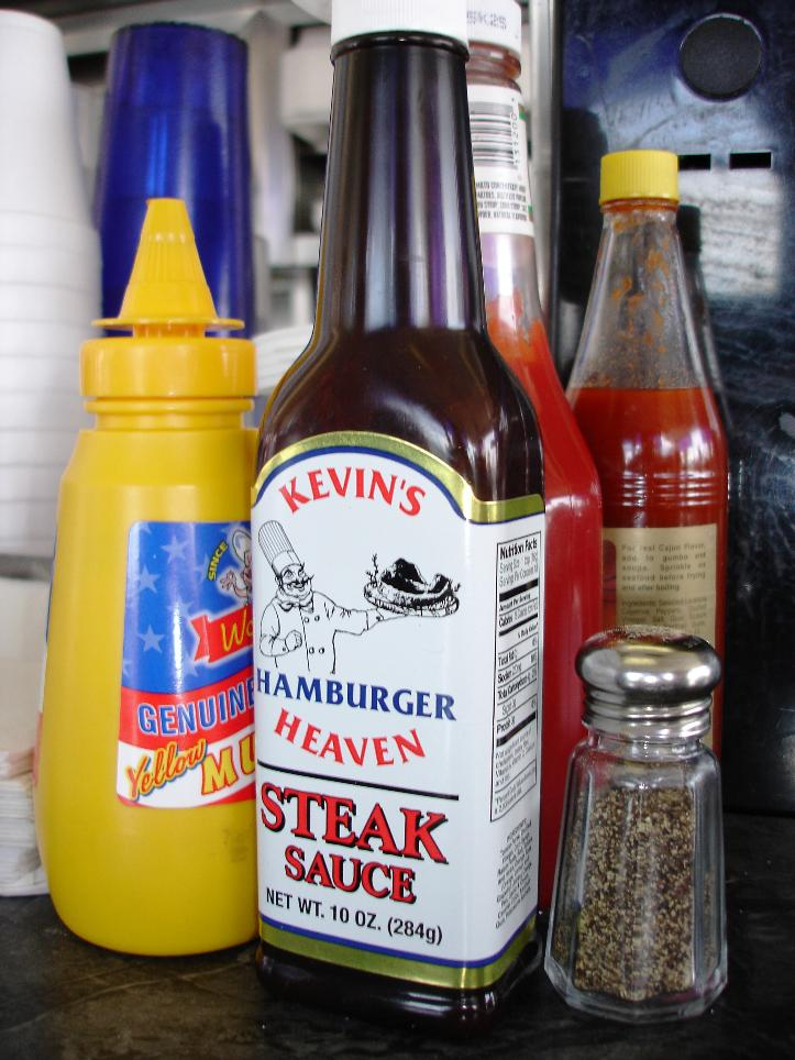 Bottles of their own-label steak sauce are available along with all the usual condiments.