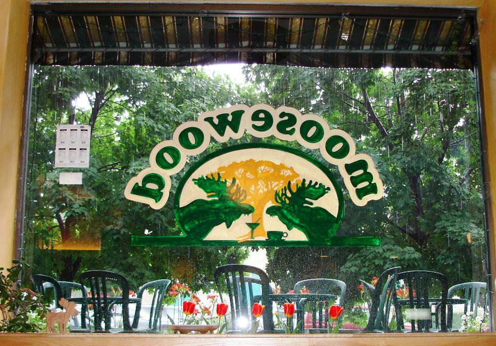 Moosewood Restaurant, inspiration for the first Moosewood Cookbook, still exists in the upstate New York town of Ithaca. Here's a view from inside, looking out on a rainy day.