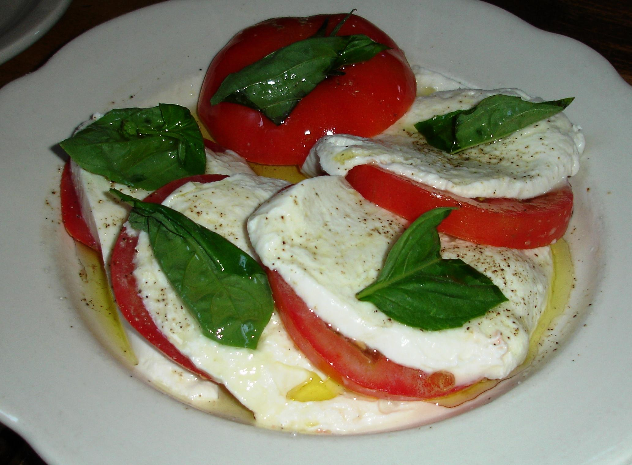 The handmade moist mozzarella can be enjoyed as part of a salad.