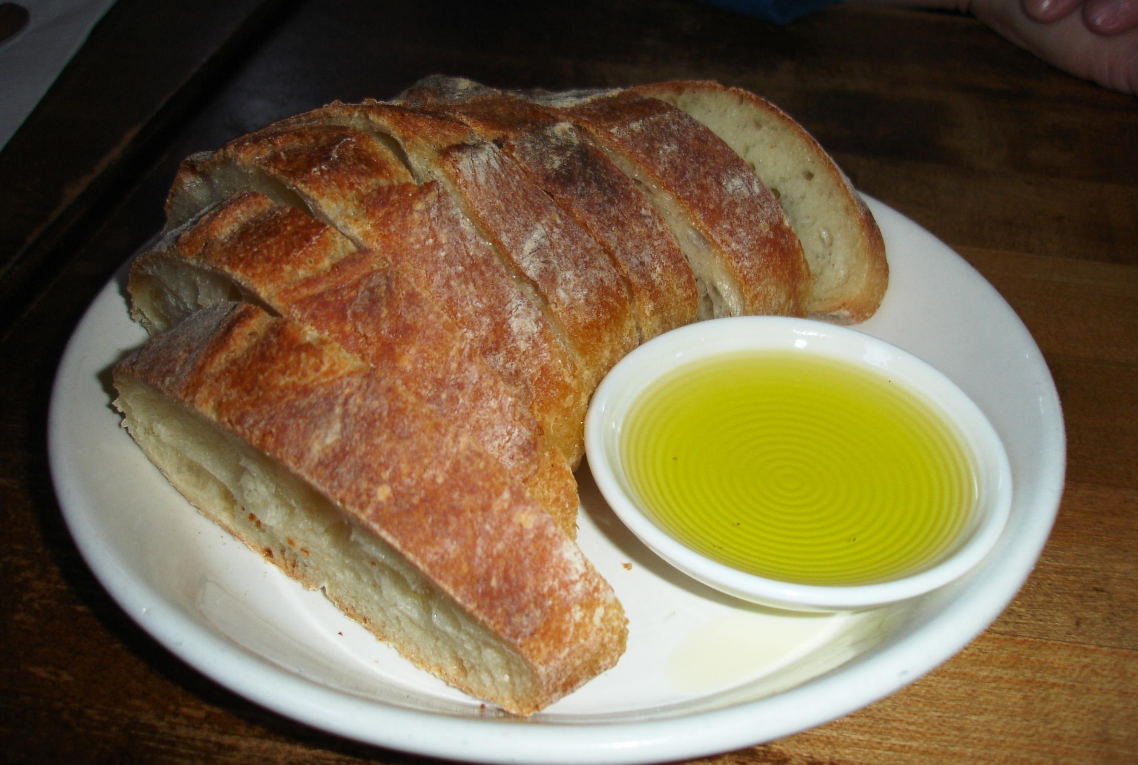 Slices of the house-made country bread are served with appetizers. The olive oil, by the way, is buttery and fruity.