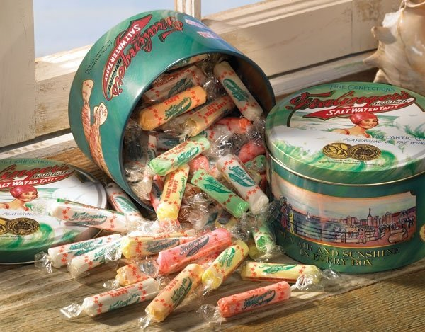 "Fralinger's taffy pieces are two inches long. James' taffy  is shorter, ""Cut to Fit the Mouth."" It's also said to be softer and less sticky."