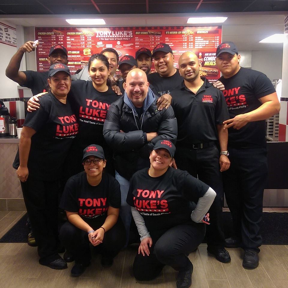 That's Tony Luke, front, center, and bald, with his Allentown crew.