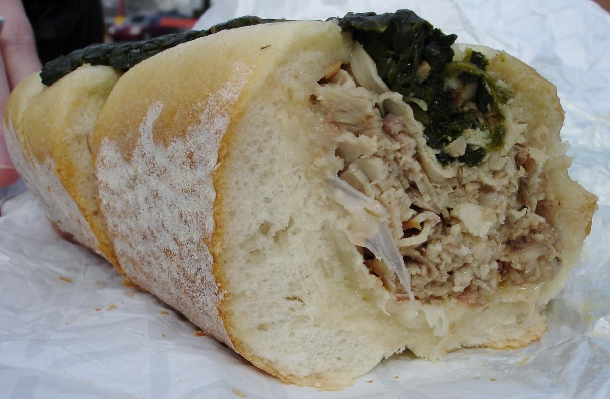 John's signature sandwich: roast pork, sharp provolone, spinach