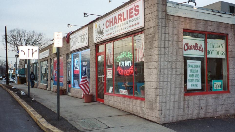 Charlie's is a simple storefront. You're not here for atmosphere, you're here for dogs.