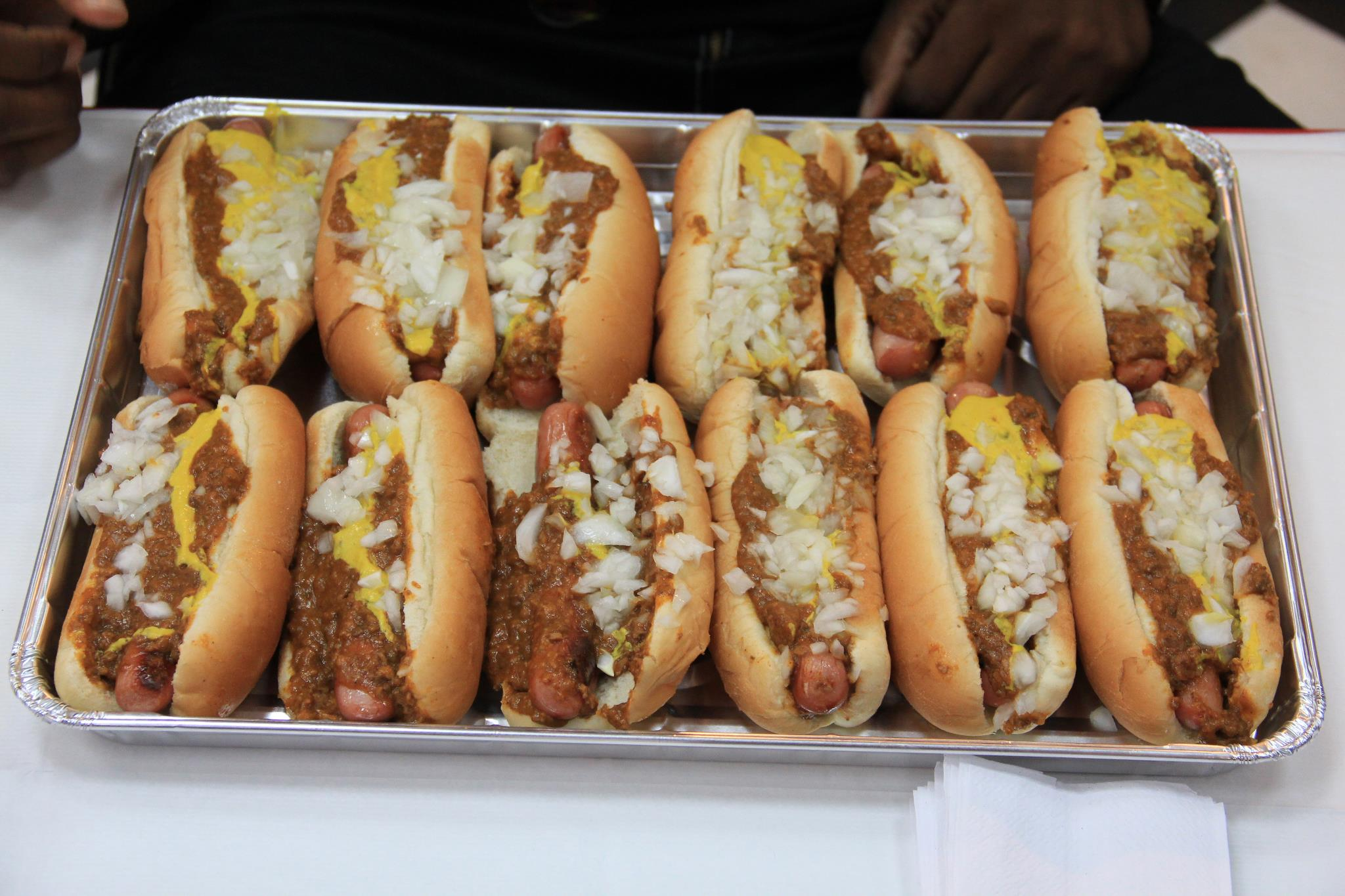 A tray of coneys from American Coney Island of Detroit