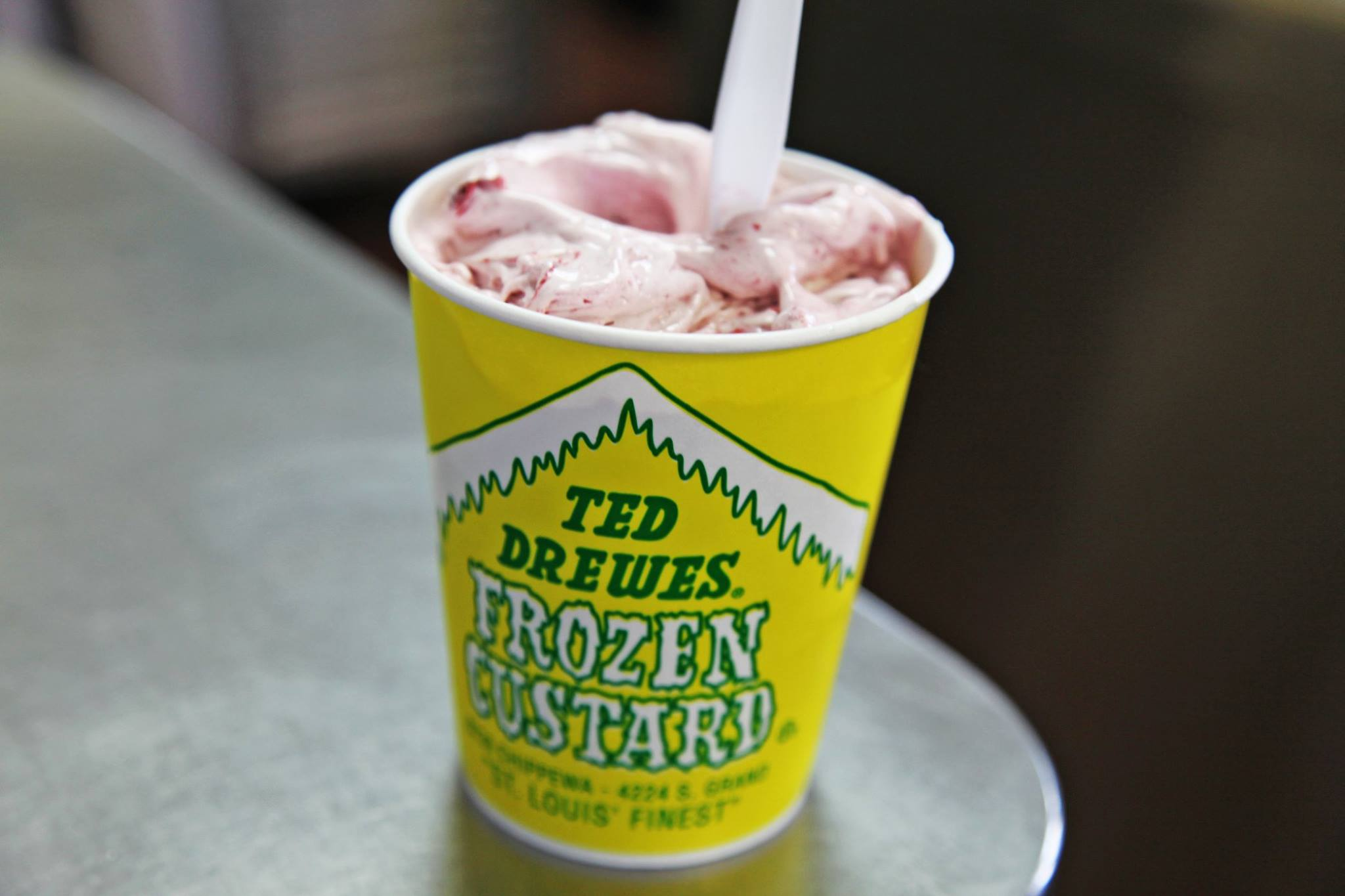 Strawberry frozen custard from Ted Drewes