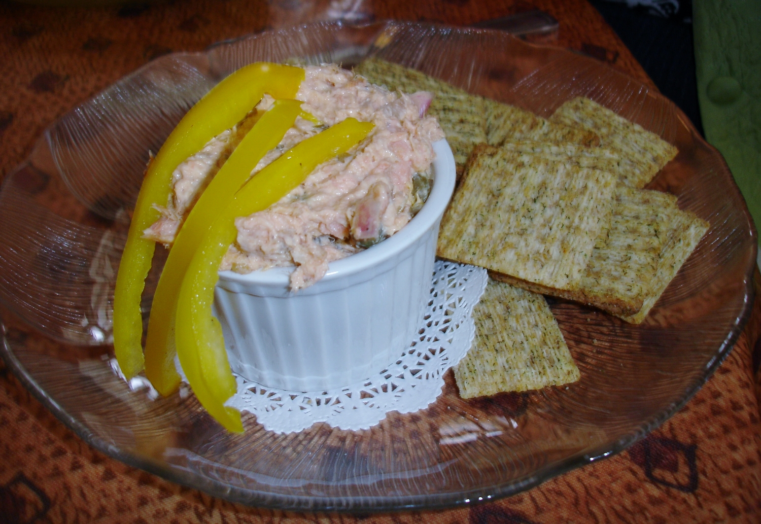 The smoked trout appetizer is rich and smoky. We love the ingenuous appeal of the Triscuits served alongside.