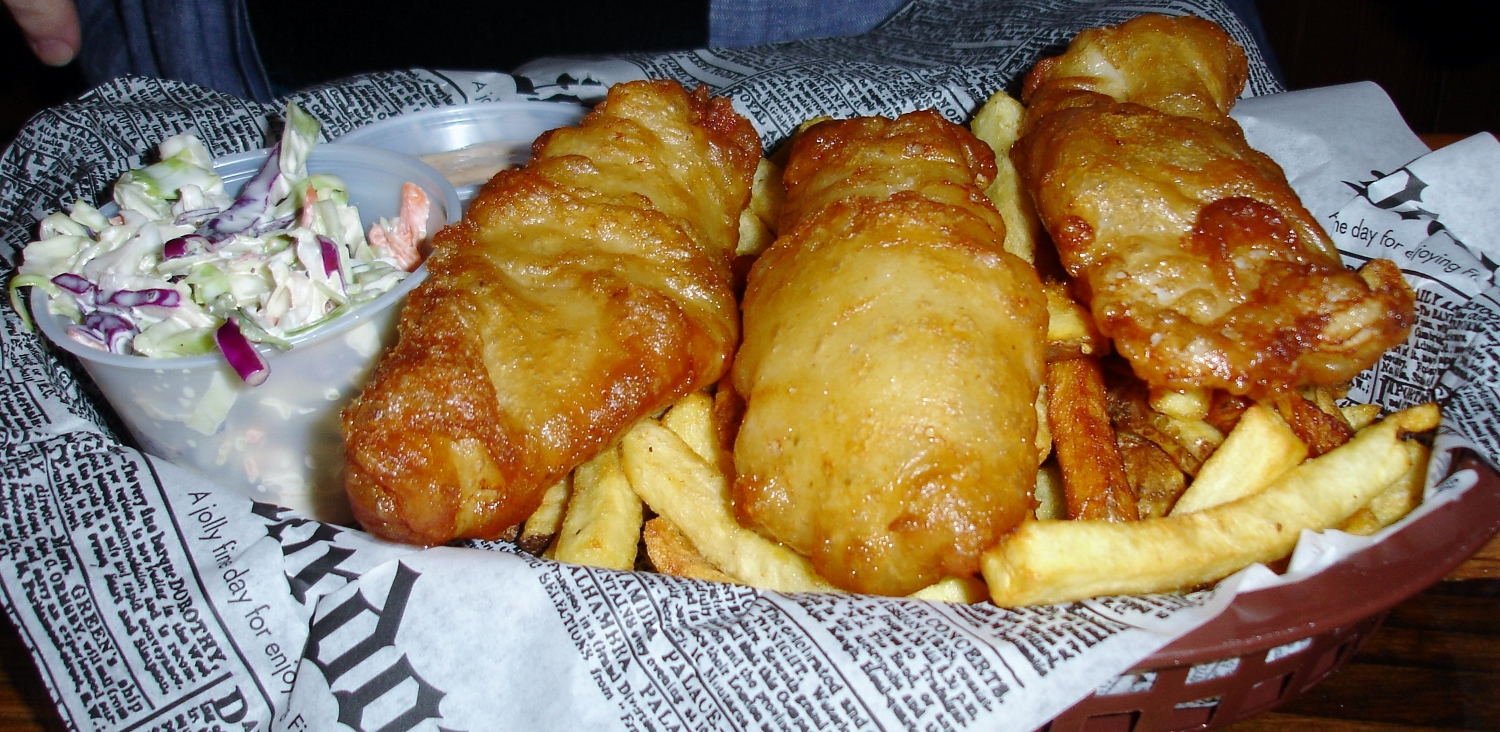 Chowda's Beer Battered Fish and Chips: we don't know what kind of fish they use but it was fried perfectly, leaving the fish super-moist. The batter crust is crisp. We like how the fish remains so quiveringly soft that, even with a crisp crust, it falls apart as a piece is lifted from the basket. That lemon Tabasco aioli is an excellent sauce.