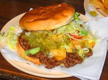 The great green chile cheeseburger at Owl Bar