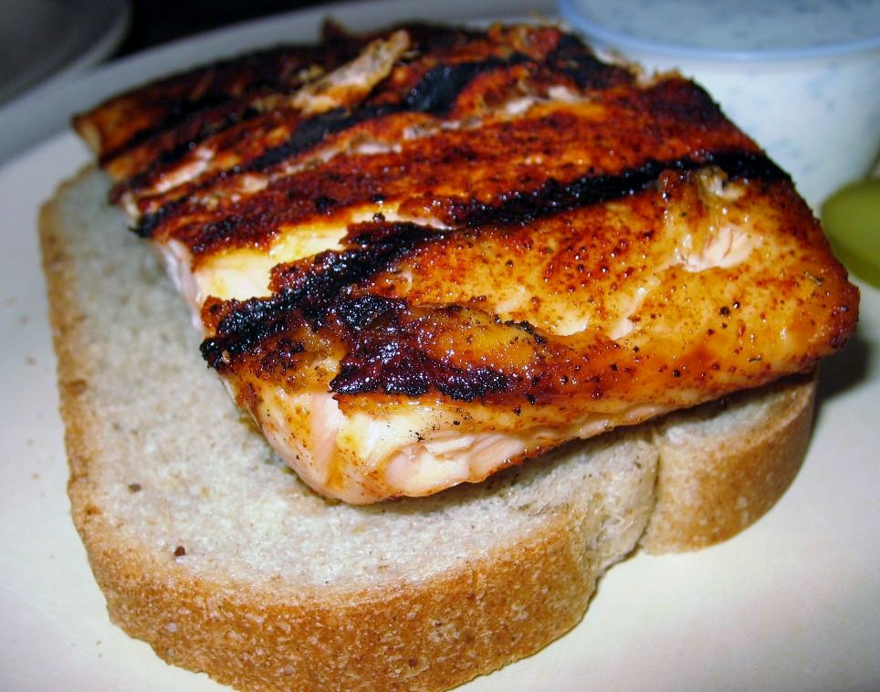 Carp too scary? There's a full menu of alternatives, like this grilled salmon.