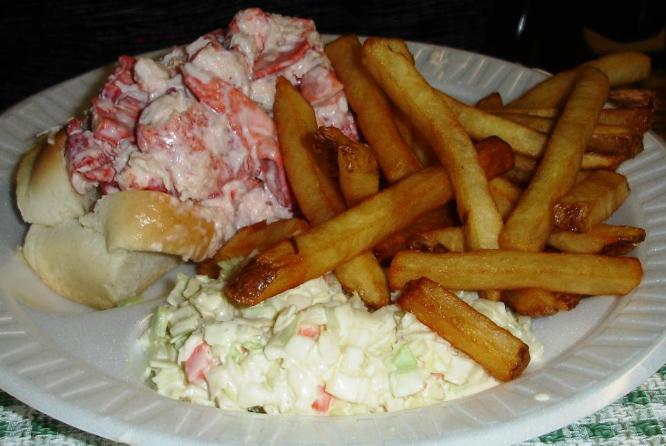 The lobster roll is generously filled, but we found it to be pretty ordinary in flavor. The coleslaw, however, is excellent.