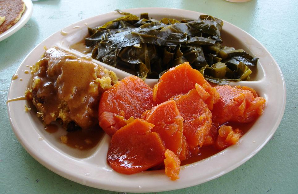Sweet but not syrupy yams, cornbread dressing with gravy, and collard greens make up this well-balanced three vegetable plate.
