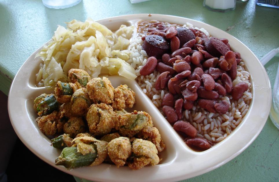 Fried okra, cabbage, and red beans and rice with sausage would make a superlative lunch as is. But don't miss the pork chops and chicken.