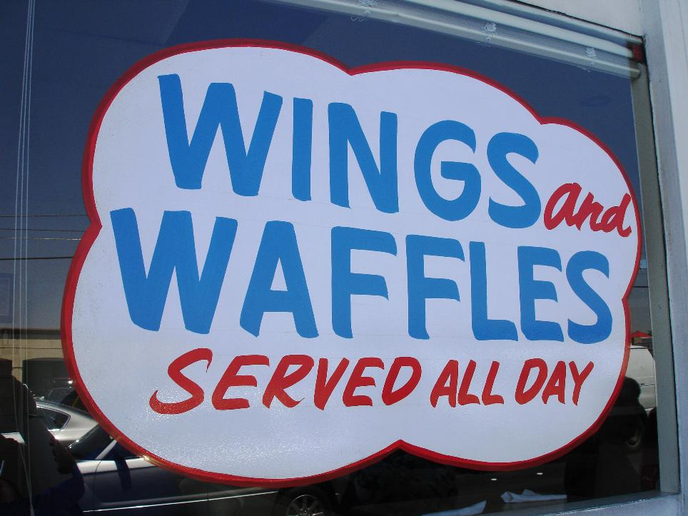 We saw a few customers enjoying fresh baked waffles served with fried chicken wings. Looked great!