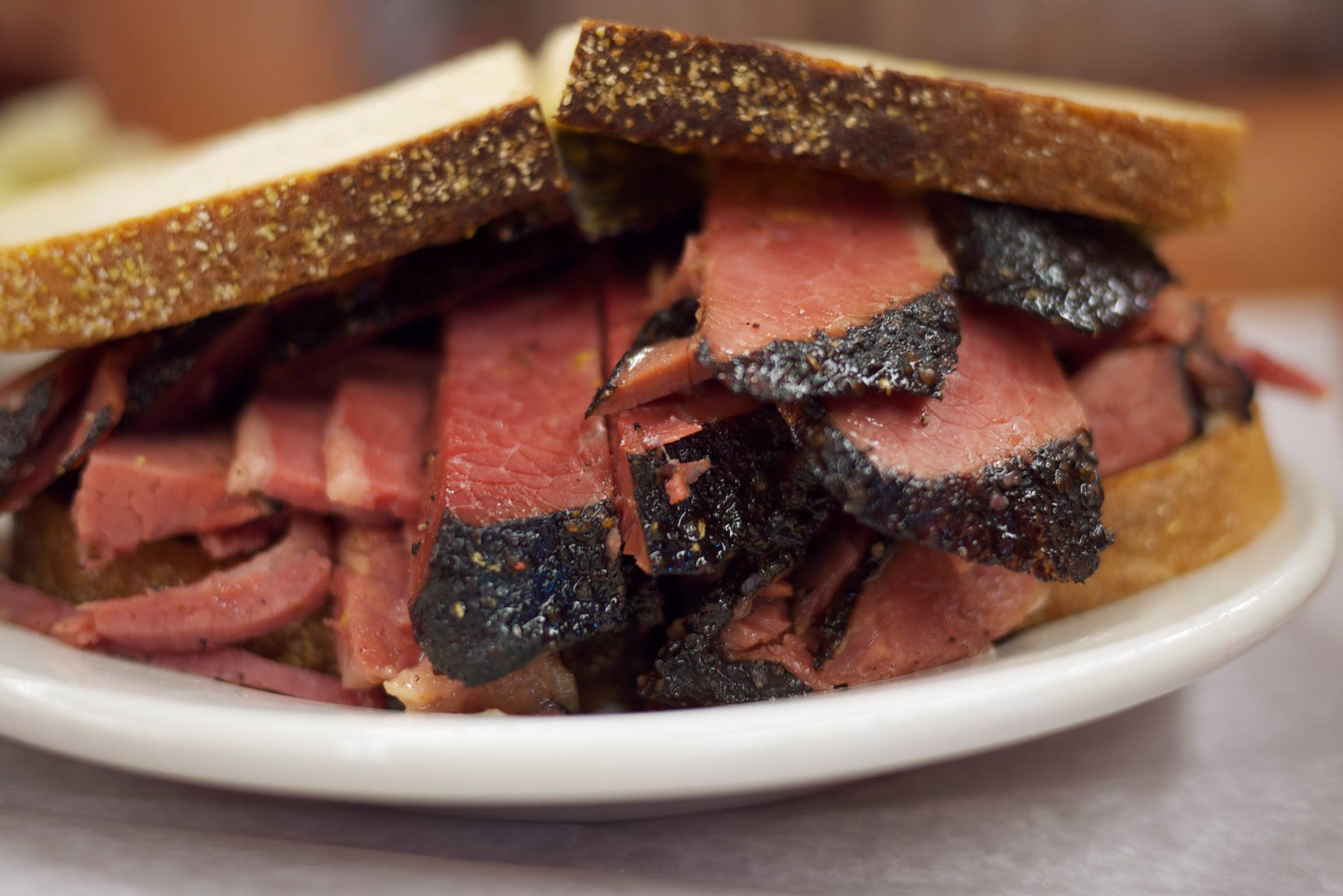 Hand-carved hot pastrami at Katz's Deli - this one looks to have been ordered extra lean, not a great idea.