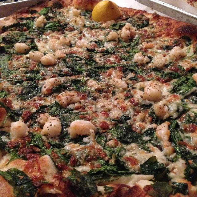 A shrimp, spinach, and garlic pie from BAR in New Haven, CT