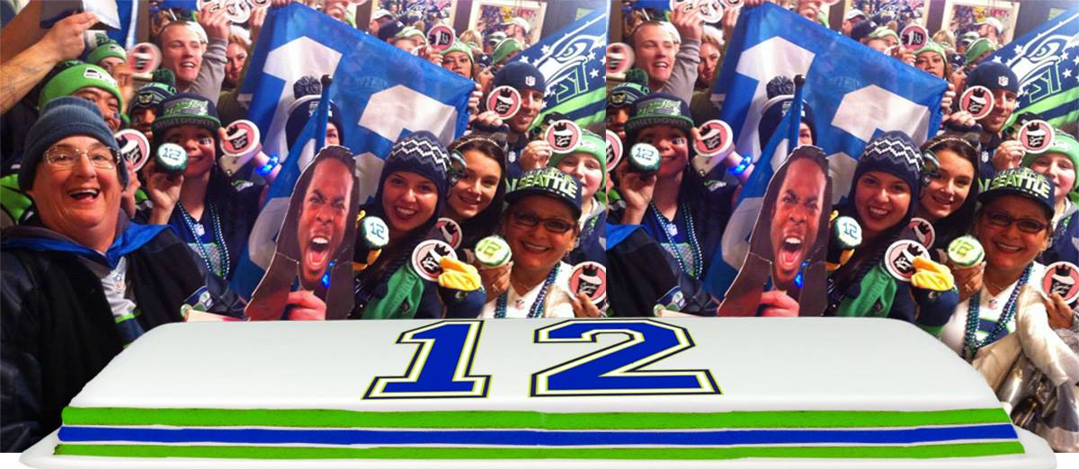 Get a free slice of the giant 12th Man cake at Cupcake Royale in Seattle.