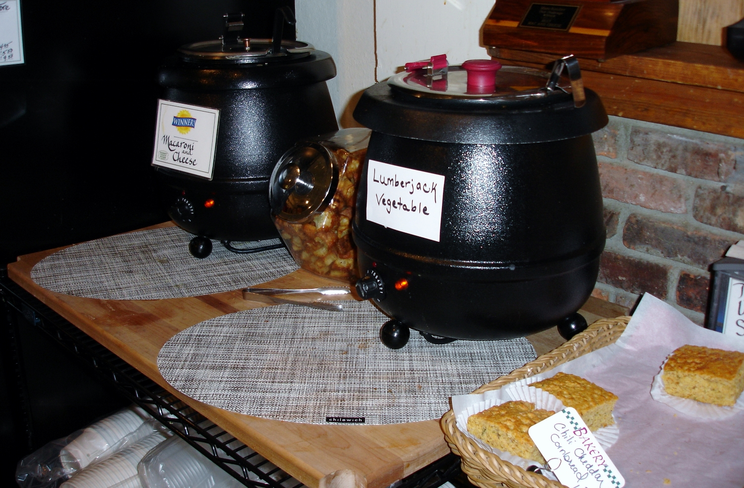 Serve yourself from the soup kettles. One of them is likely to contain their award-winning macaroni and cheese.