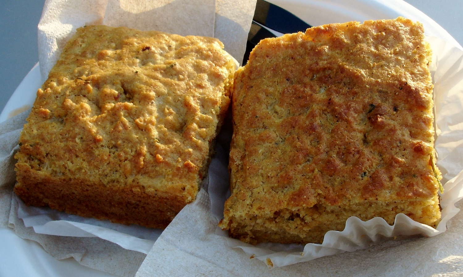 Huge squares of crusty, coarse-textured chili cheddar cornbread were set up next to the soup kettle (at just a buck-and-a-quarter a square). Perfect with a bowl of soup or the mac and cheese.