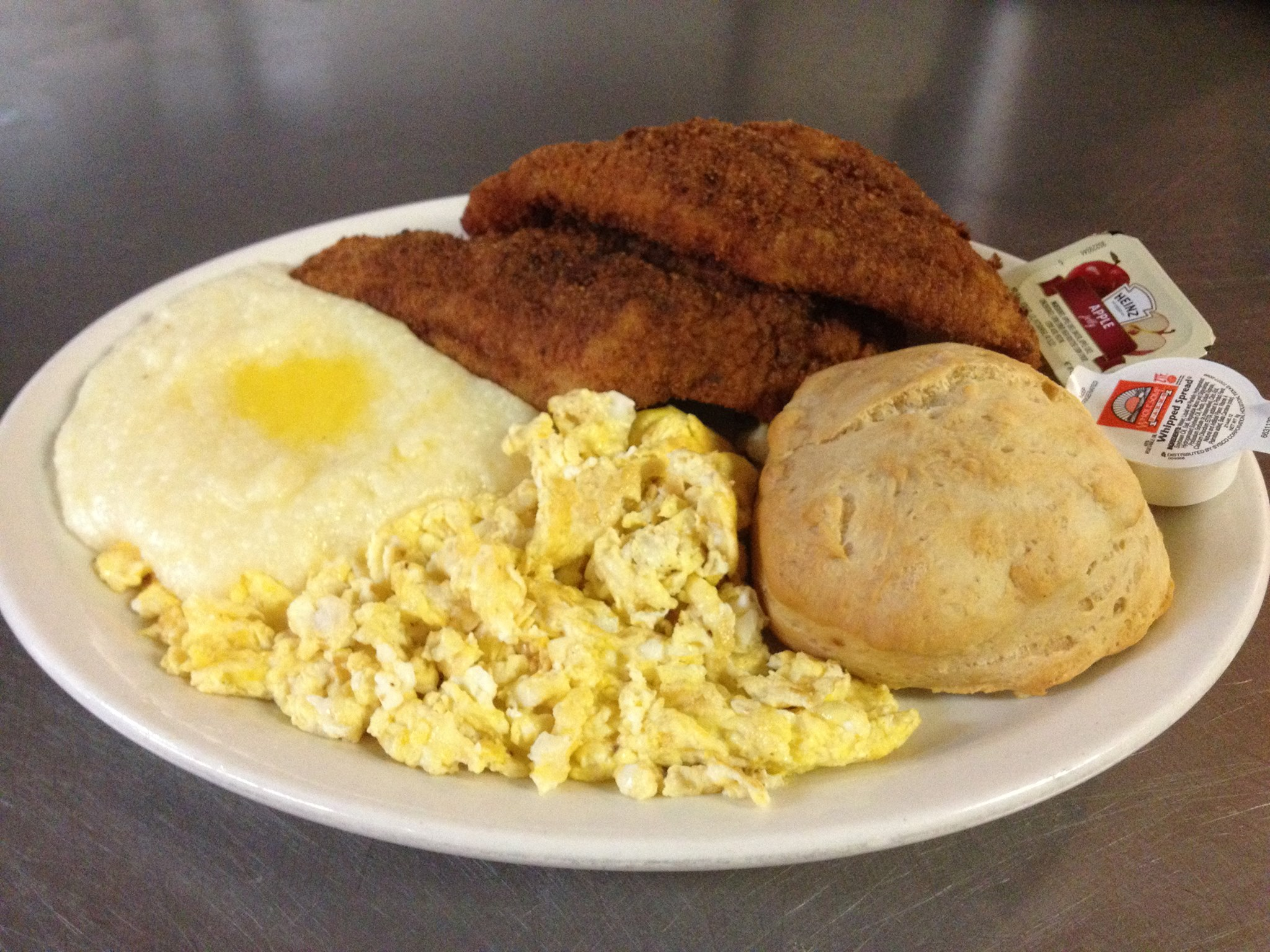 A classic soul food brunch: fish and grits, from the Florida Avenue Grill of Washington, DC