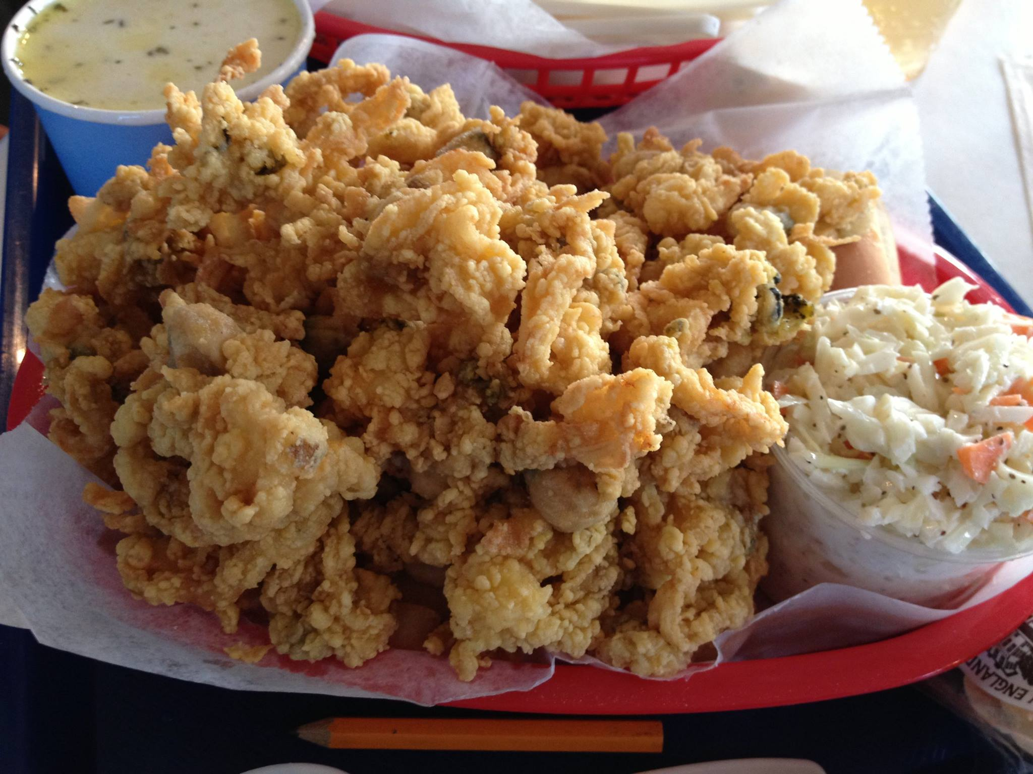 Fried clams at Bob's Clam hut - they come in your choice of Bob's recipe or Lillian's recipe.