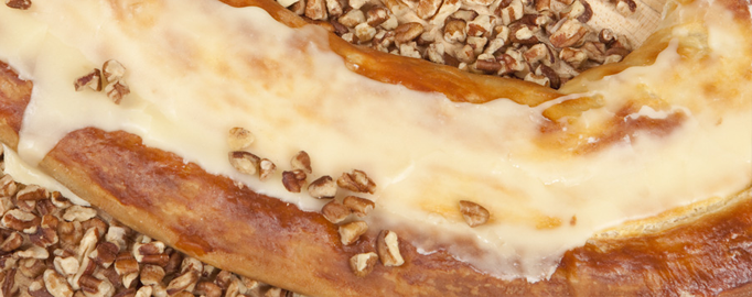 Pecan kringle is the most popular flavor at all Racine kringle bakeries. This one is from Bendtsen's.