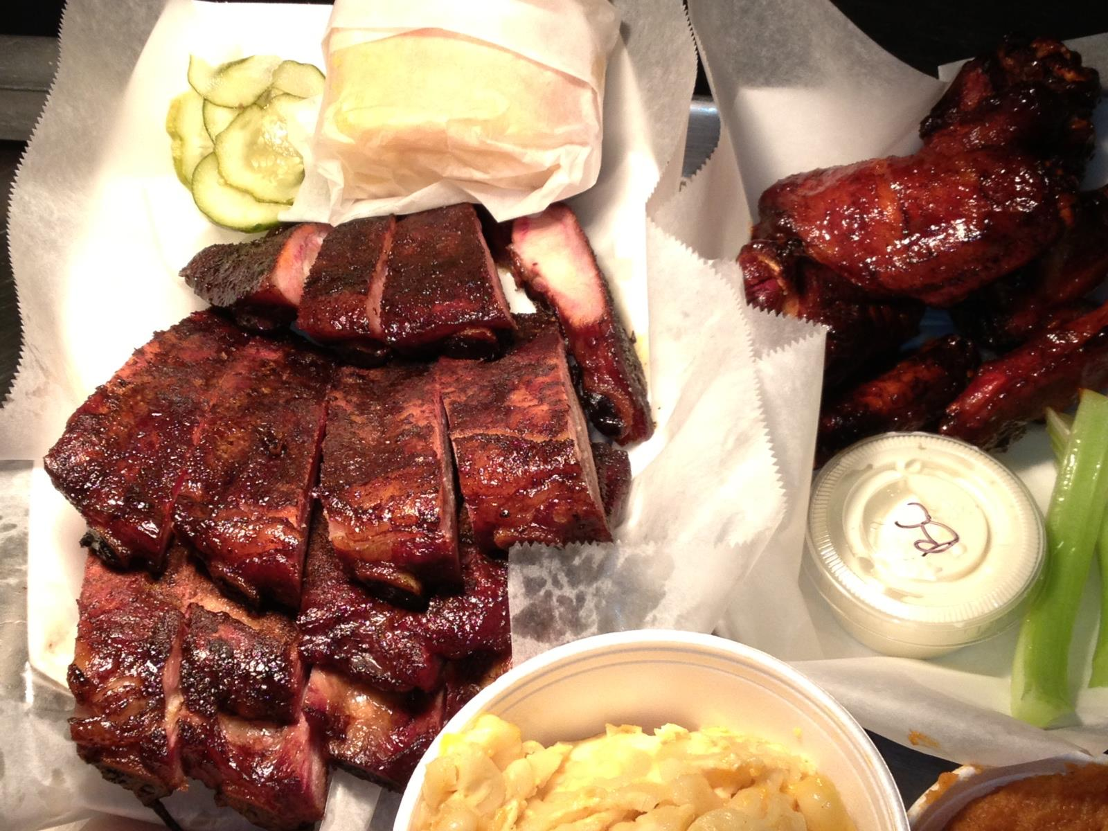 Ribs, wings, and sides at Wilson't Real Pit Barbeque of Fairfiled, CT