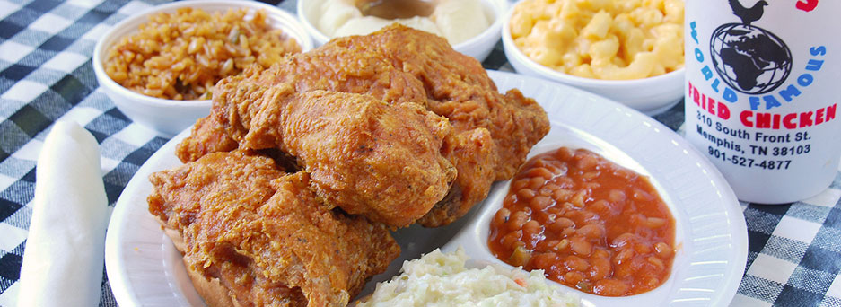 Fried chicken dinner from Gus's, which began frying chickens in Tennessee almost 60 years ago