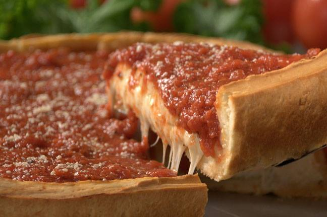 Chicago stuffed pizza from Giordano's - you better like cheese!
